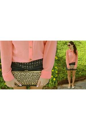 coral Primark shirt - Stradivarius bag - Bershka skirt - beige Primark flats