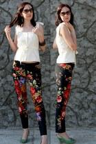 dark brown calvin klein sunglasses - white Glance top - Koton pants