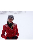 ruby red Zara coat - purple Marks and Spencer hat - black Pavlovoposad scarf