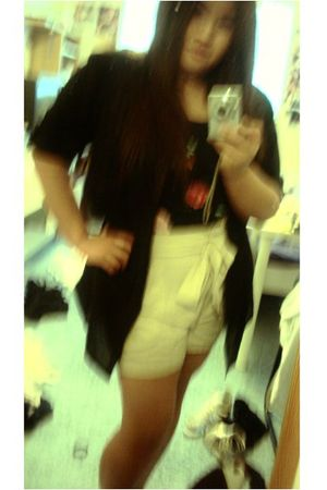 beige H&M shorts - black H&M dress - black H&M blouse