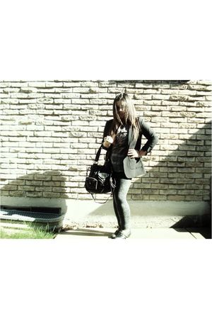 black H&M blazer - brown Giorgio Armani shirt - gray Talula leggings - black Ald