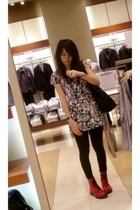 random from GuangZhou t-shirt - Mango leggings - doc martens boots - Uniqlo