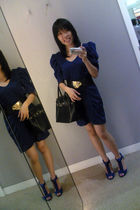 blue unknown dress - blue rubi shoes - black unknown belt - black Hermes accesso