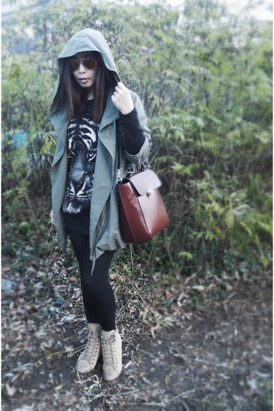 Zara bag - Aldo boots - jacket - sweater - calvin klein tights