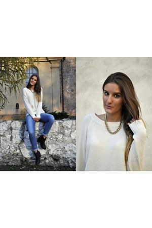 H&M sweater - H&M boots - American Apparel jeans - Shwrm necklace