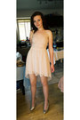 Light-pink-bershka-dress-pink-glittery-graceland-pumps-no-name-stockings