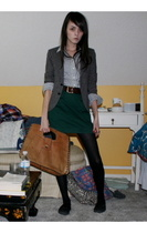 shirt - blazer - skirt - belt - purse - shoes