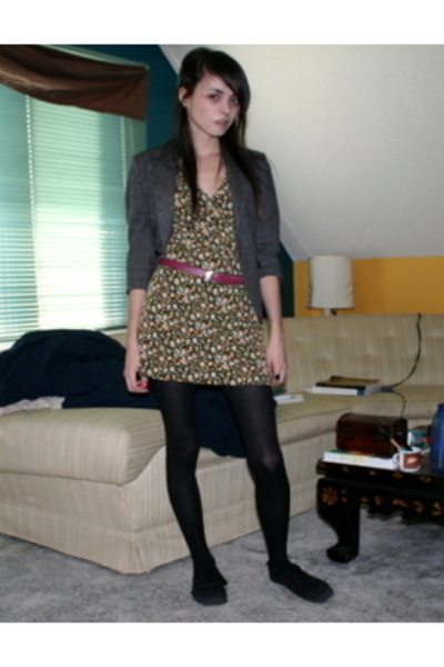 blazer - belt - dress - tights - shoes
