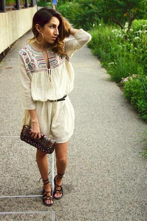 beige Mango dress - navy ecote bag - black modcloth sandals