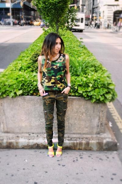 green Forever 21 shirt - green Zara pants