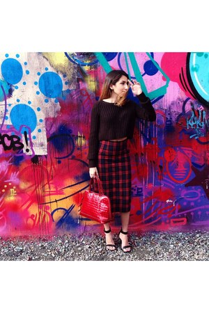 ruby red Zara skirt - black Urban Outfitters sweater