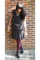 Primark dress - belt - Gap tights - Daniel Footwear boots
