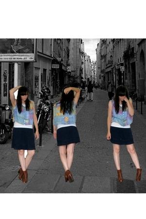 H&M skirt - charity shop - Ebay vest - H&M boots
