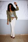 White-gap-pants-green-vintage-blazer