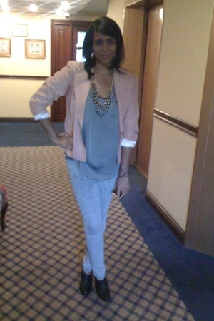pink vintage jacket - gray Old Navy blouse - silver Urban Outfitters jeans - bla