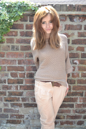 knitwer pull&bear jumper - chino pull&bear pants - weaved Topshop belt