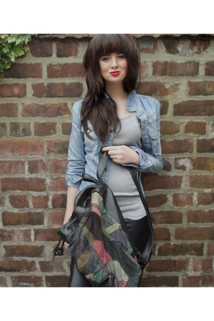 denim jacket Zara jacket - faux leather H&amp;M leggings - rucksack vintage bag - ba