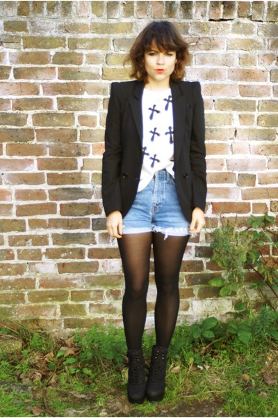 DIY t-shirt - asos shoes - asoscom blazer - vintage shorts