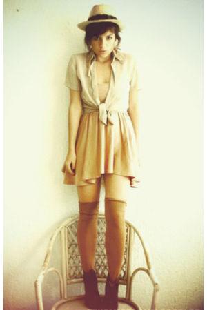 Socks Shop stockings - vintage from Ebay boots - American Apparel dress