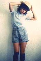 vintage shorts - vintage blouse