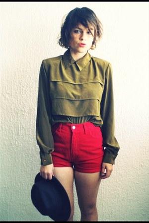 vintage blouse - vintage shorts