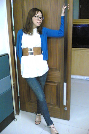 from bit jacket - night marlet top - little shop jeans - Nine West shoes