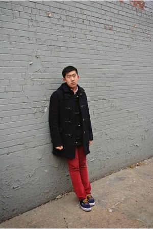 forest green Uniqlo coat - Vans shoes - Express cardigan