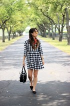 black gingham smock asos dress - red Ray Ban sunglasses