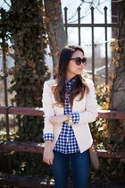 peach fitted Topshop blazer - navy skinny madewell jeans - navy JCrew shirt