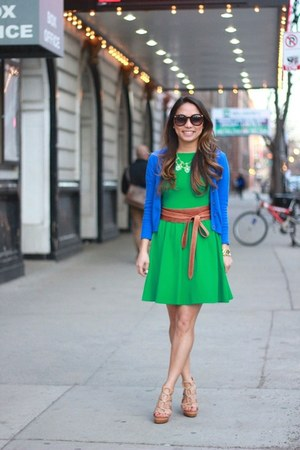 blue cardigan Zara sweater - green skater asos dress