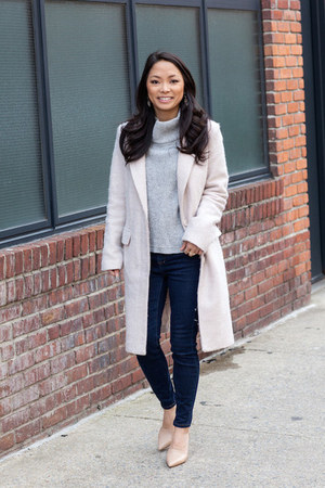 heather gray turtleneck French Connection sweater - cream duster Forever 21 coat