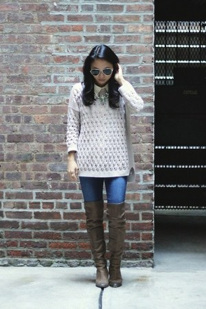 eggshell Autumn Cashmere sweater - dark brown over the knee sam edelman boots