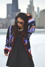 Black-suede-michael-kors-boots-blue-satin-vintage-jacket