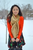 red Jcrew sweater - tawny faux fur The Limited scarf