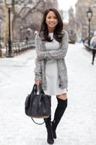 heather gray cardigan BDG sweater - black over the knee Ivanka Trump boots