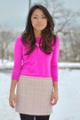Hot-pink-jcrew-sweater-light-pink-tweed-forever-21-skirt