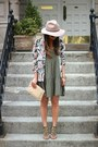 Olive-green-babydoll-tiered-american-eagle-dress-neutral-fedora-topshop-hat