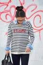 Black-skinny-hudson-jeans-ivory-striped-talbots-sweater