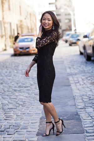 black ankle strap Steve Madden shoes - black lace Reiss dress