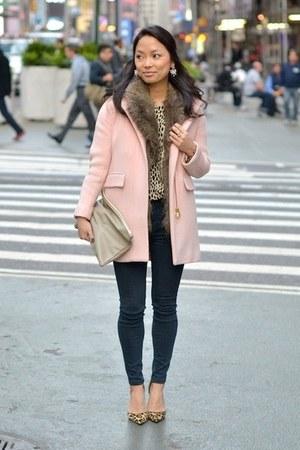light brown leopard JCrew shirt - light pink wool cocoon JCrew coat