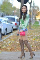hot pink DKNY bag - brown sam edelman boots - green Topshop sweater
