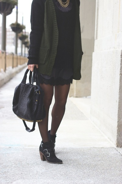 black trouve sweater - gray Silence & Noise dress - black Alexander Wang bag