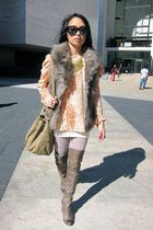 orange Victorias Secret blouse - brown jack vest - brown sam edelman boots - bei