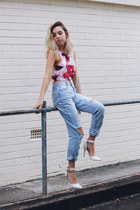 white floral crop top Blessd Are The Meek top - sky blue Living Doll jeans
