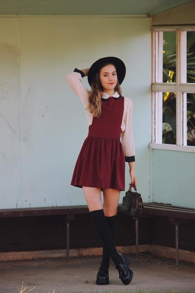 pinafore Topshop dress - boater OASAP hat - Shellys London heels