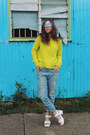 Blue-boyfriend-jeans-oasap-jeans-yellow-neon-knit-three-of-something-sweater
