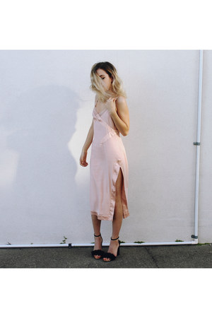 light pink Blessed are the Meek dress - black Boohoo heels