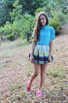 white printed Faith & Lola skirt - sky blue collar Koogal top