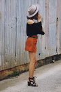 Burnt-orange-suede-tan-yoins-skirt-black-glassons-top