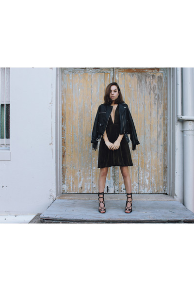 leather jacket Missguided jacket - dark brown metallic Fame and Partners dress